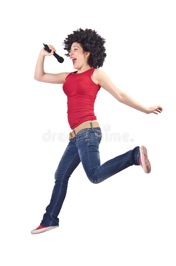 Download Woman with afro haircut stock image. Image of karaoke - 28350099