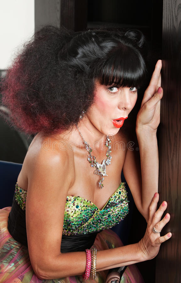 Download Woman in Afro Wig Hiding stock photo. Image of gorgeous - 28019370