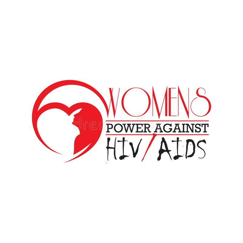 woman against HIV/AIDS letter the support for World aids day and national HIV/AIDS and aging awareness month concept stock illustration