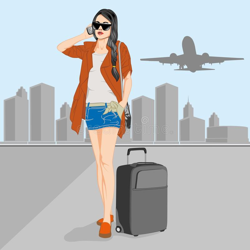 Woman in airport royalty free stock photo