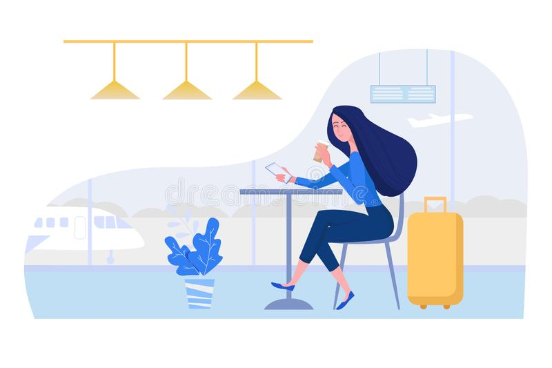 Woman at the airport sitting in cafe with suitcase, mobile phone and coffee. Female vector character illustration in. Flat style stock illustration
