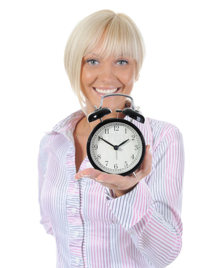 Download Woman With An Alarm Clock In A Hand. Stock Image - Image: 16110717