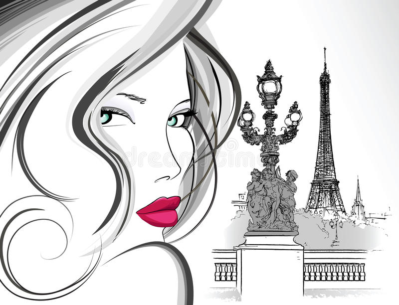 Woman on Alexander III bridge in Paris royalty free illustration