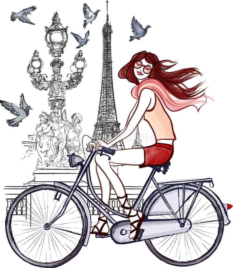 Woman on Alexander III bridge in Paris vector illustration