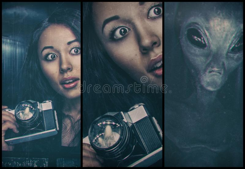 Woman and alien. Woman with photocamera and alien behind her stock photos