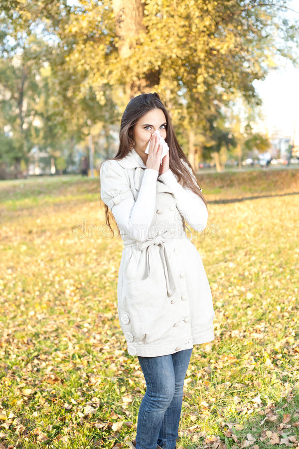Woman with allergy or cold royalty free stock photography
