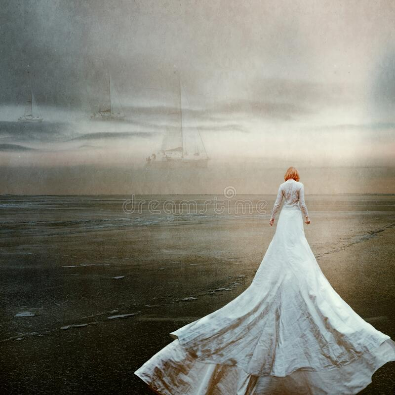 Free Woman Alone With Surreal Sea, Longing And Waiting. Stock Images - 186031854