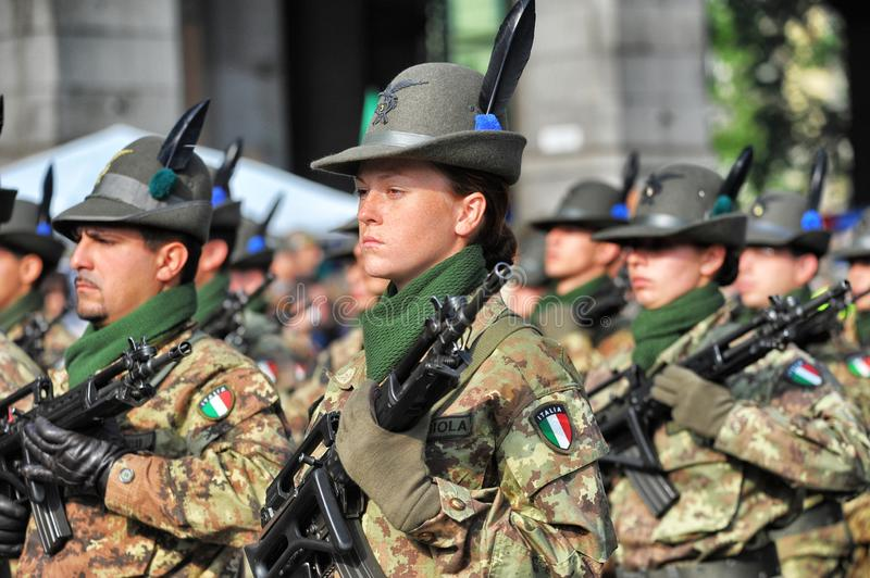 Alpine italian military forces during a parade stock image