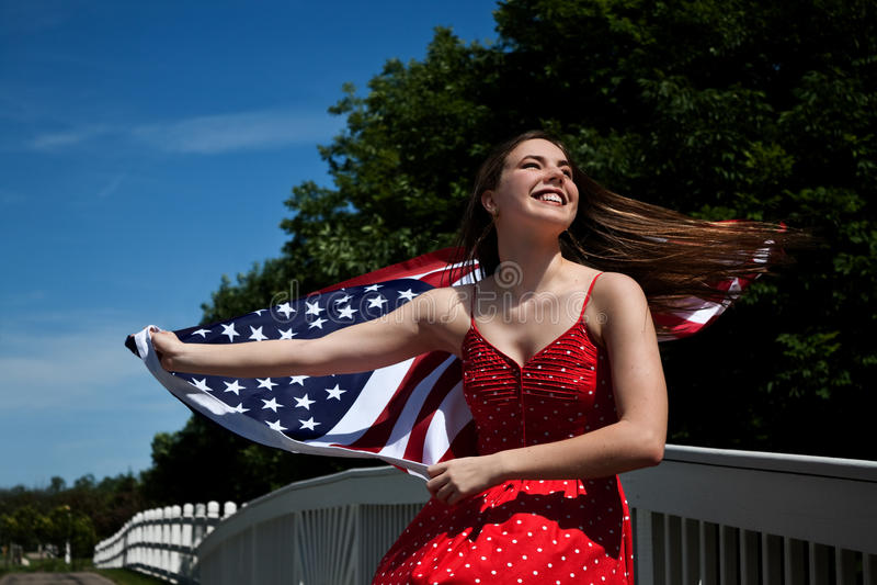 Woman American Flag stock photos