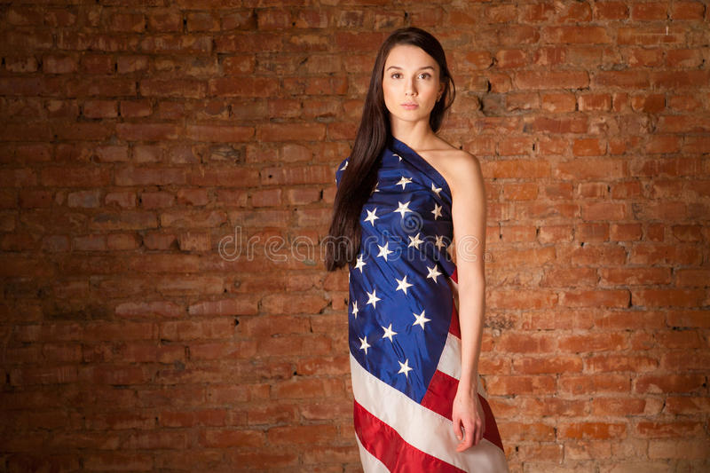 Download Woman in the American flag stock image. Image of america - 30901151
