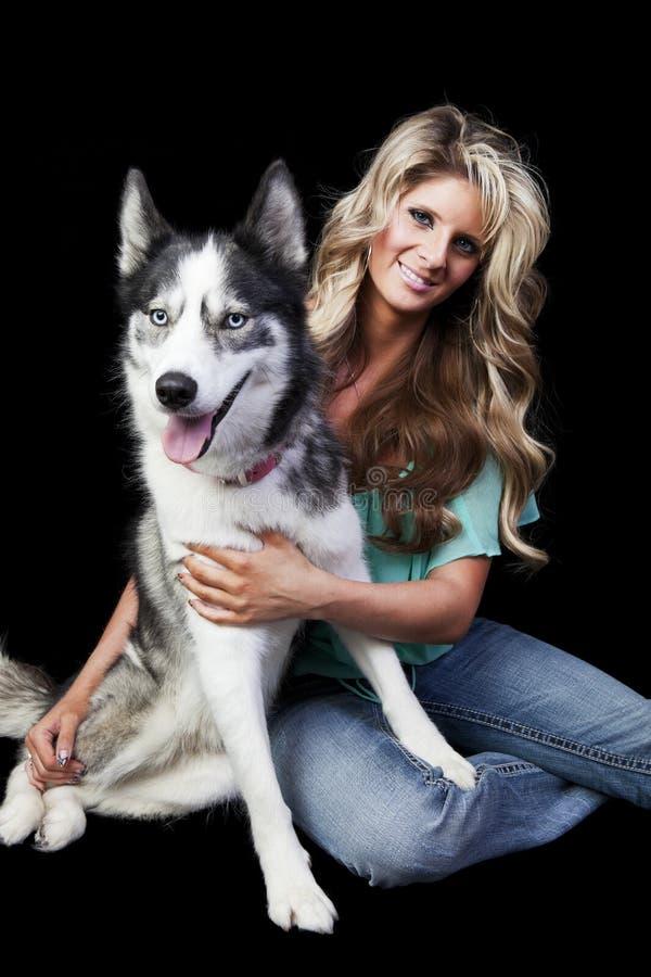 Woman With American Husky