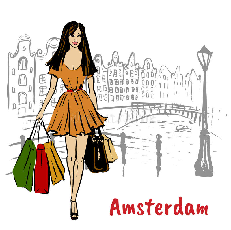 Woman in Amsterdam. Woman with shopping bags walking in Amsterdam, Netherlands stock illustration
