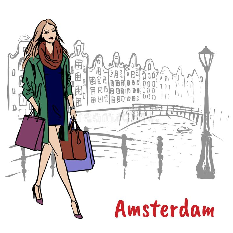 Woman in Amsterdam. Young woman with shopping bags in Amsterdam, Netherlands royalty free illustration