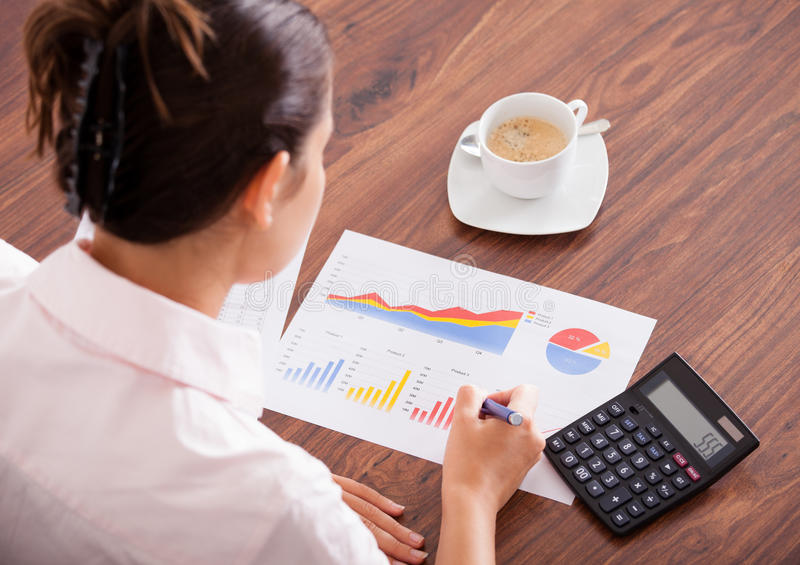 Woman Analyzing The Financial Data royalty free stock photos