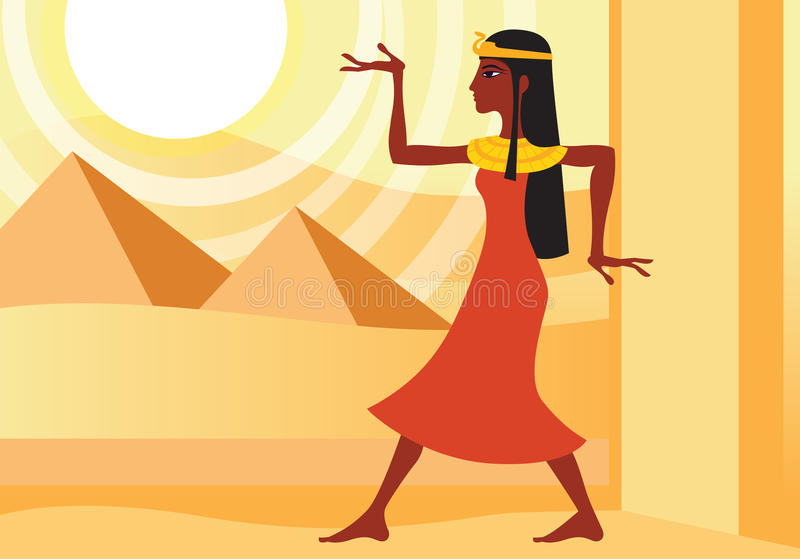 Woman in ancient Egyptian dress stock illustration