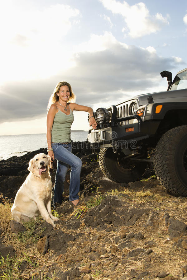 Free Woman And Dog By SUV At The Beach Royalty Free Stock Photography - 12733177