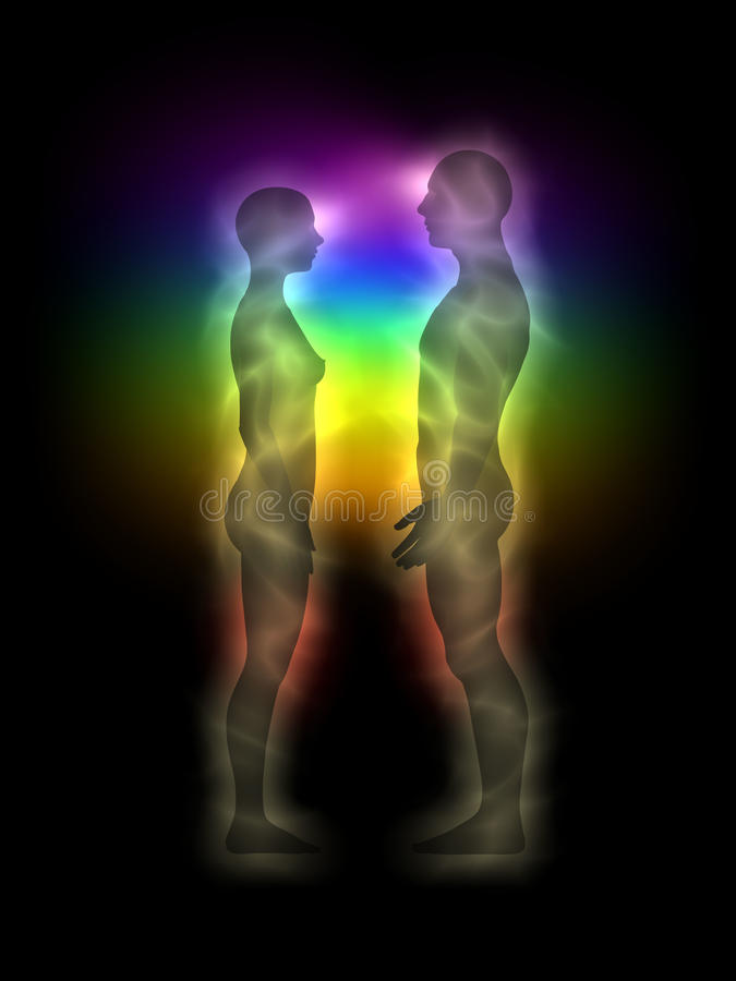 Free Woman And Man Silhouette With Aura, Chakras, Energy Royalty Free Stock Images - 18938119