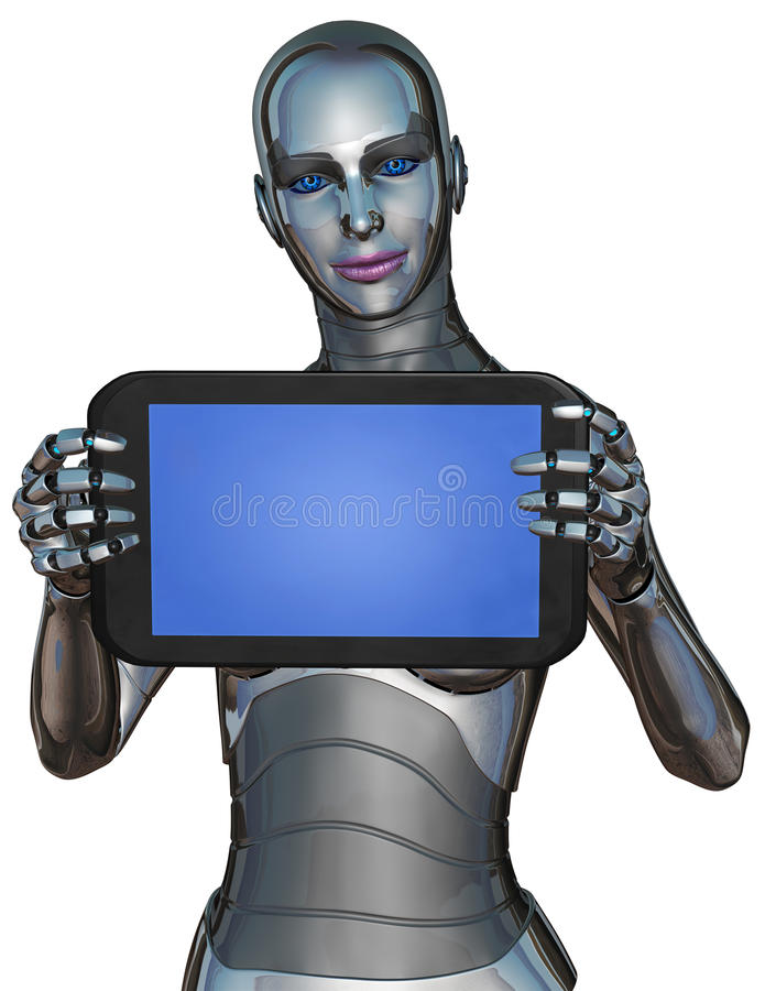 Woman Android Robot Computer Tablet Isolated. Female woman android robot with a nice smile is holding a computer tablet. The illustration features a cyborg royalty free illustration