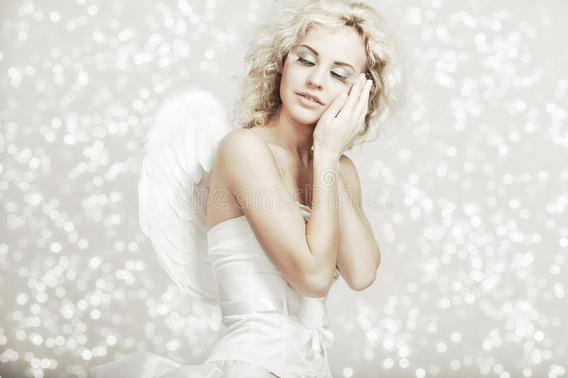 Woman in angel costume royalty free stock photos