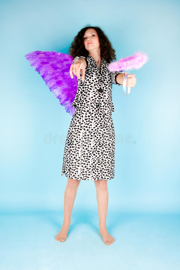 Download Woman with angel's wing stock photo. Image of cute, clothing - 14453696