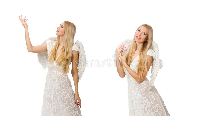 Woman with angel wings isolated on white. The woman with angel wings isolated on white stock image