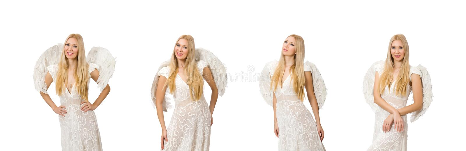 Woman with angel wings isolated on white royalty free stock images