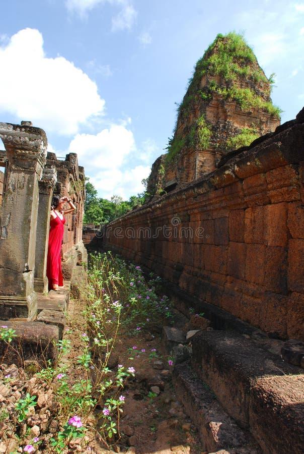 Download Woman at Angkor stock photo. Image of asia, dress, stone - 21257998