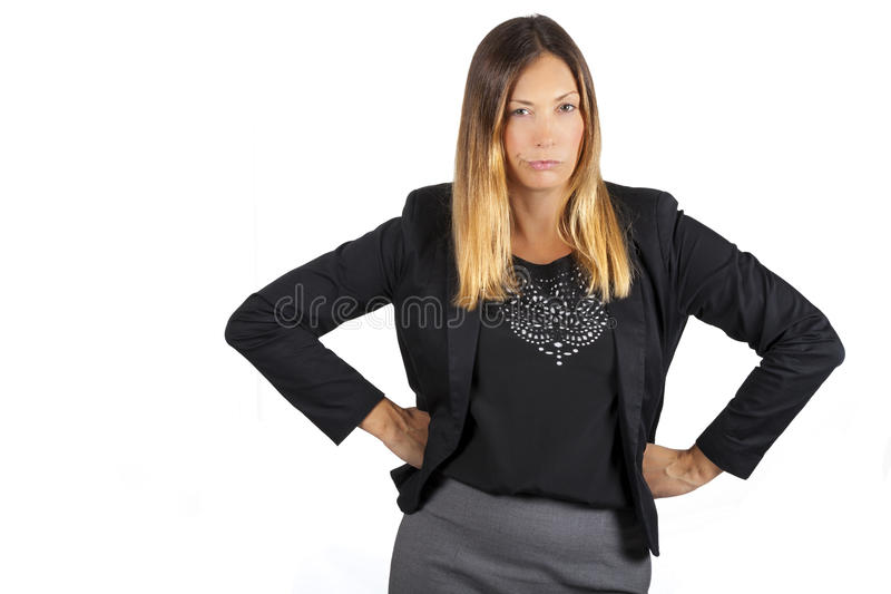 Woman angry. Aggressive attitude. On white background royalty free stock image
