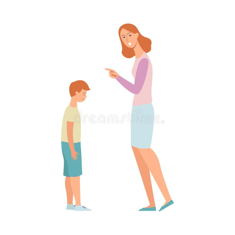 Woman angry at son, mother scolding and pointing finger at a sad kid royalty free illustration