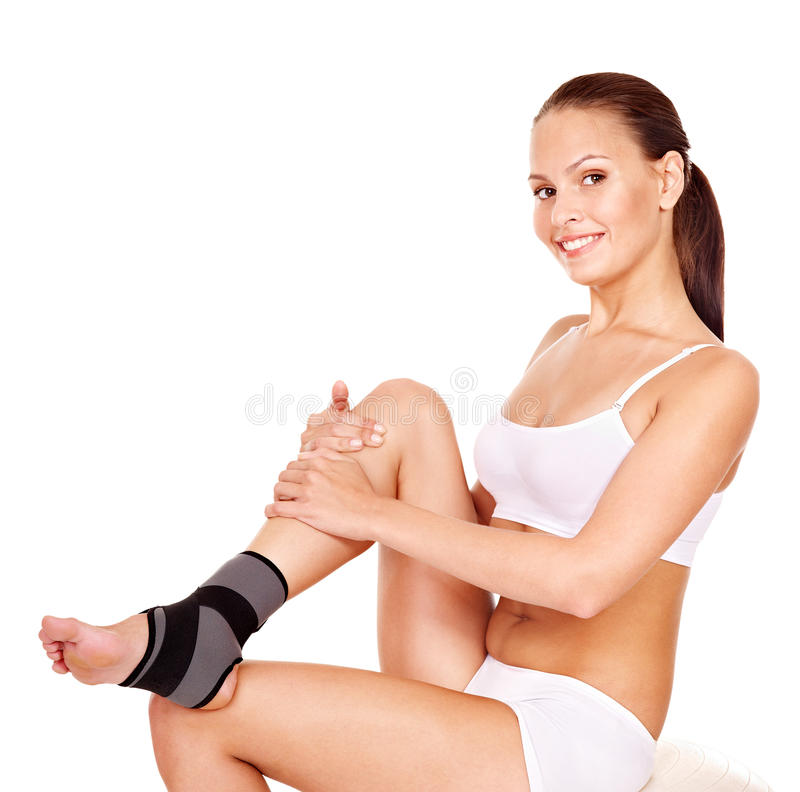 Woman with ankle brace. royalty free stock photo