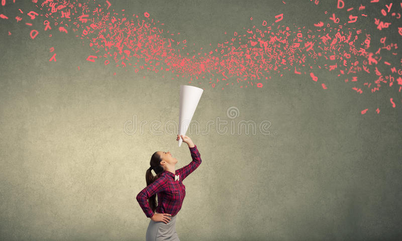 Woman announcing something royalty free stock photo