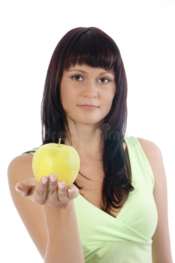 Woman with apple. stock images