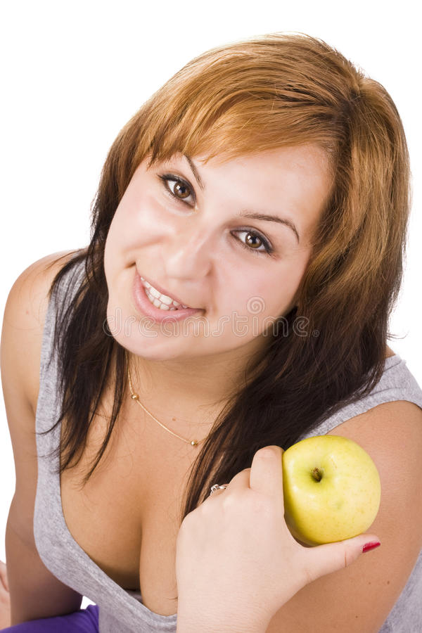 Woman and apple stock image