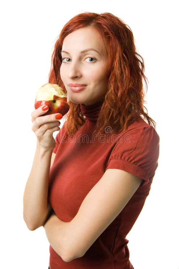 Download Woman with apple stock image. Image of eating, human, beautiful - 1638879
