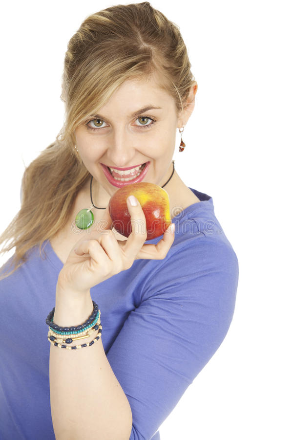 Download Woman with apple stock image. Image of health, isolated - 18686507