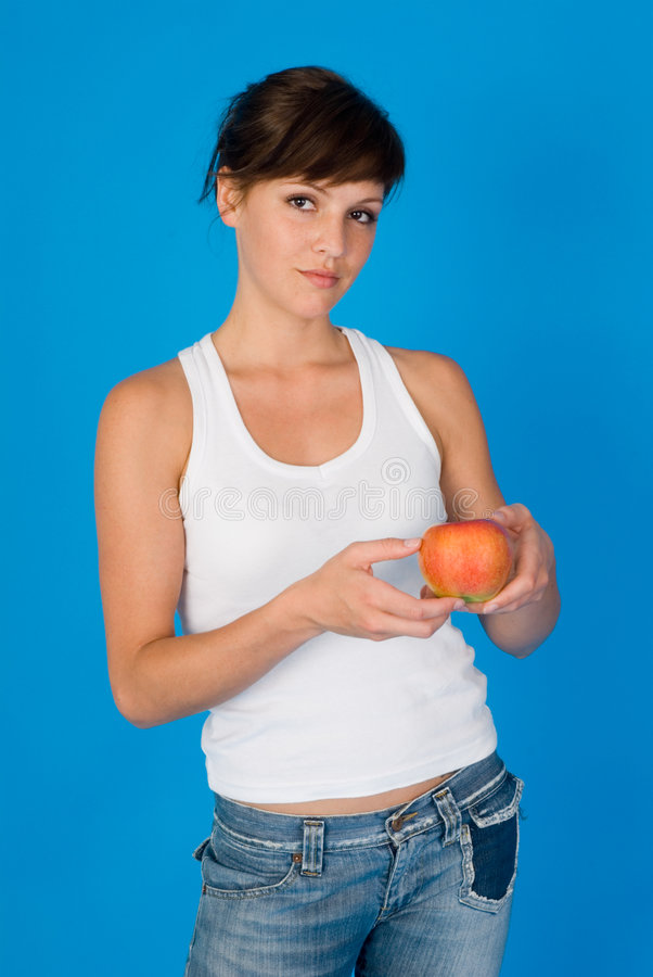 Download Woman with a apple stock image. Image of small, women - 4876451