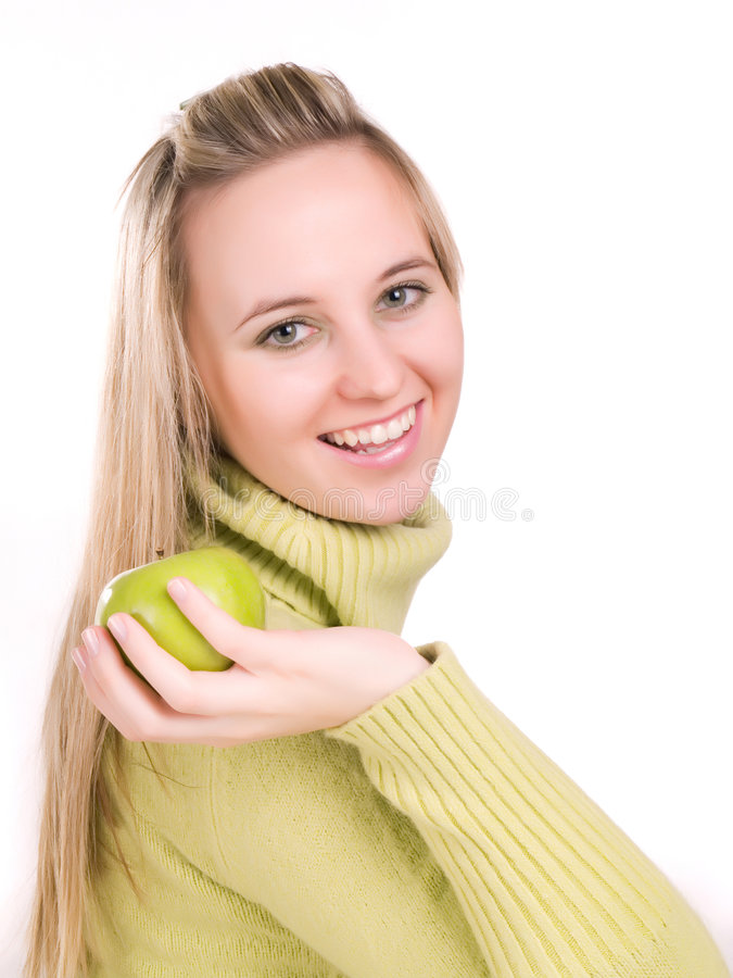 Download Woman With Apple In Her Hand Stock Photo - Image: 3621032
