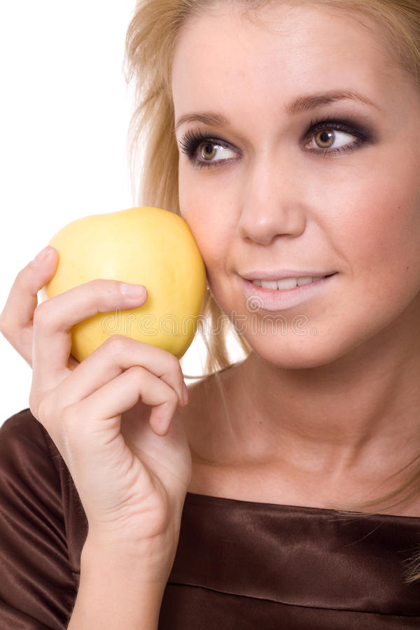 Woman With An Apple Isolated Stock Image