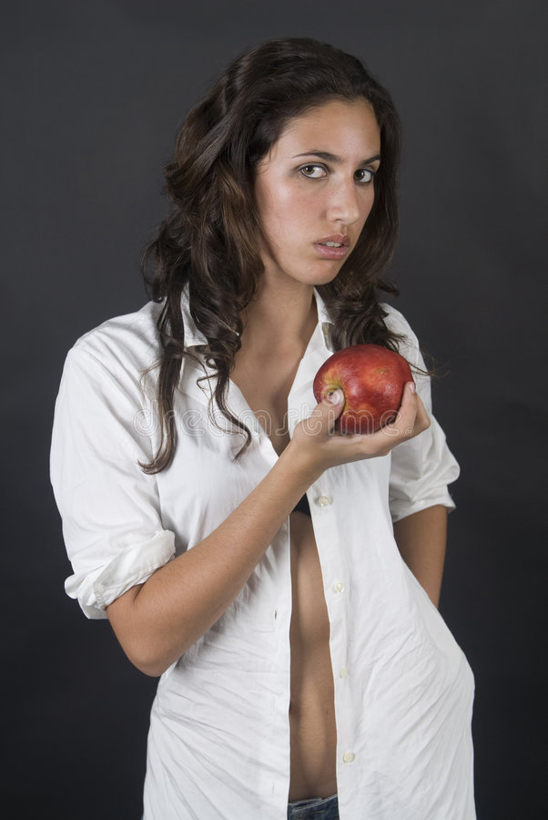 Download Woman With Apple In A Temptation Stock Image - Image of woman, lingerie: 7002297