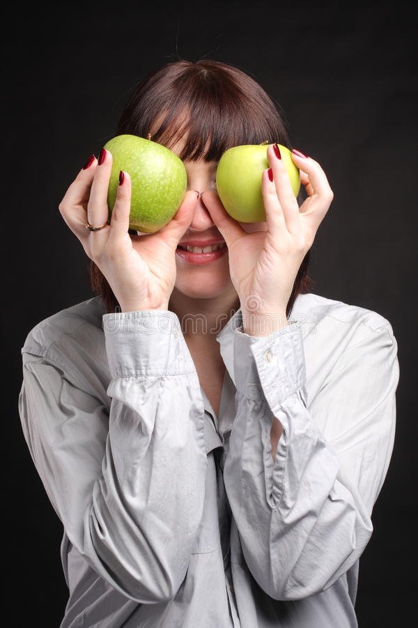 Download Woman with apples stock image. Image of female, hair - 12022739