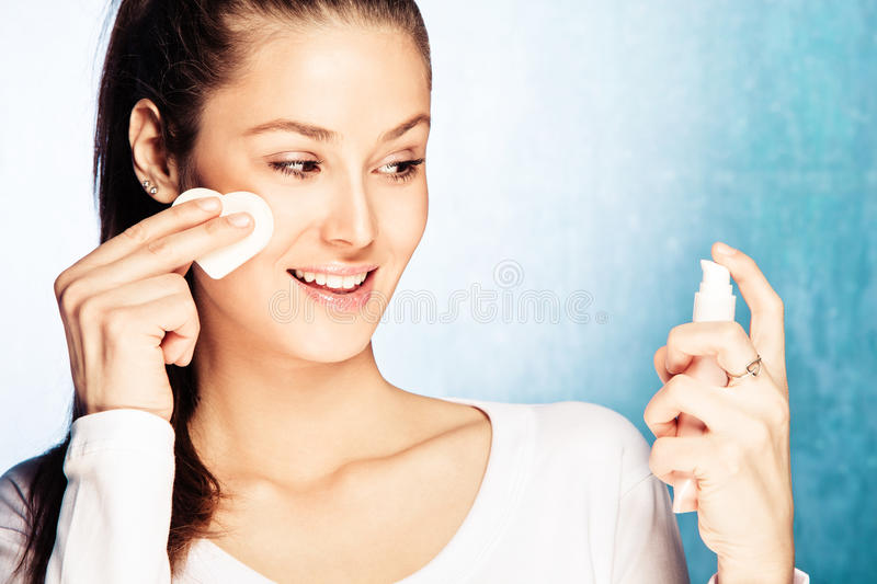 Woman Apply Foundation Stock Photo