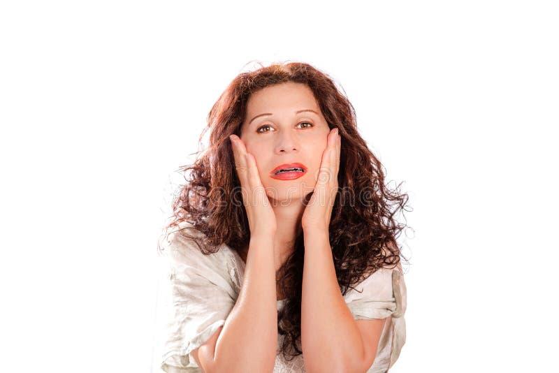 Woman applying anti-aging cream royalty free stock photo