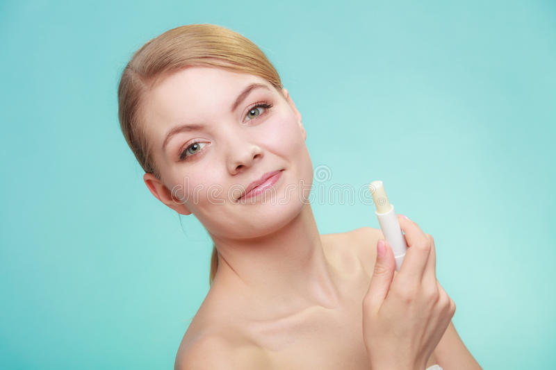 Download Woman Applying Balsam For Lips Stock Photo - Image: 83710397