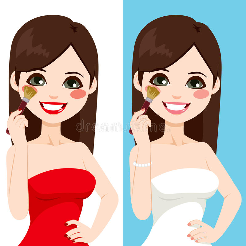 Woman Applying Blush Make Up. Beautiful brunette young woman applying blush with brush in two different color version isolated on white and blue background stock illustration