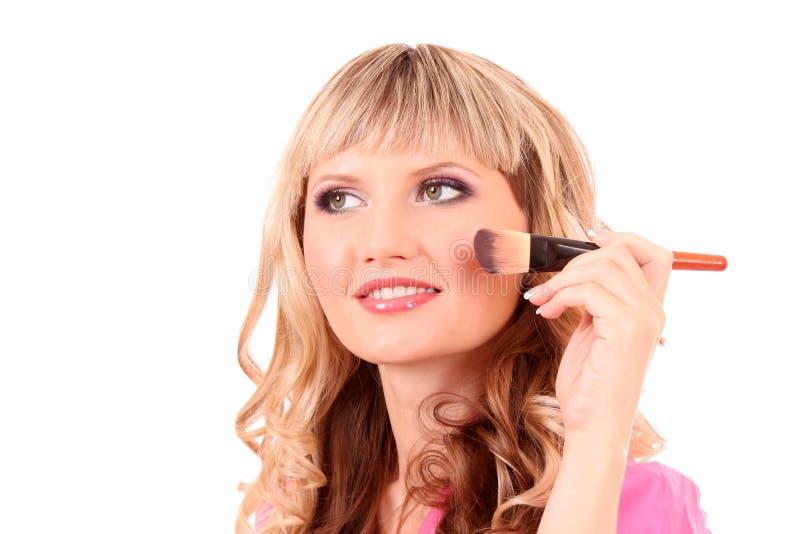 Download Woman applying  blusher stock photo. Image of caucasian - 16893948