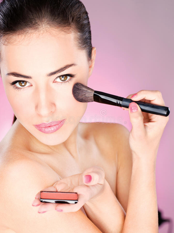 Download Woman Applying Cosmetic Powder Brush Royalty Free Stock Image - Image: 22549336