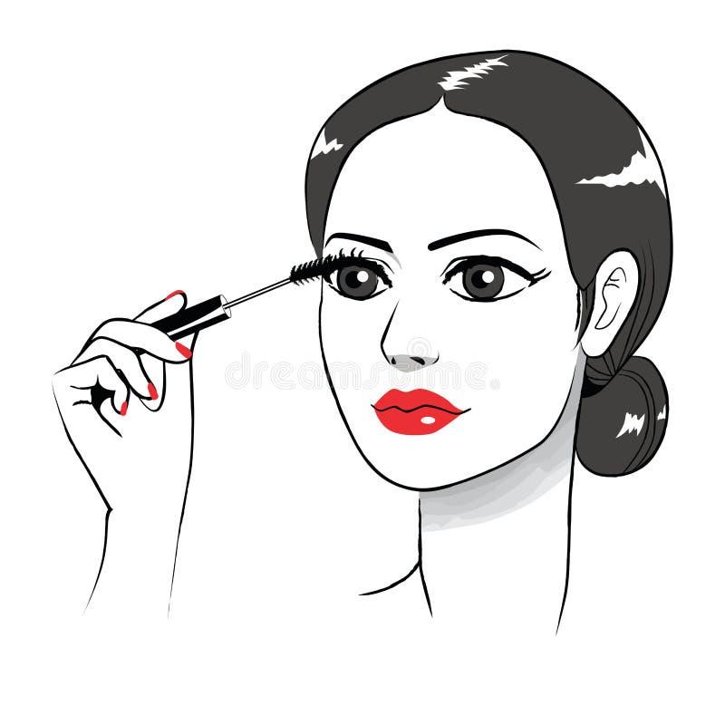 Woman Applying Eye Mascara. Beautiful young woman applying black eye mascara stock illustration