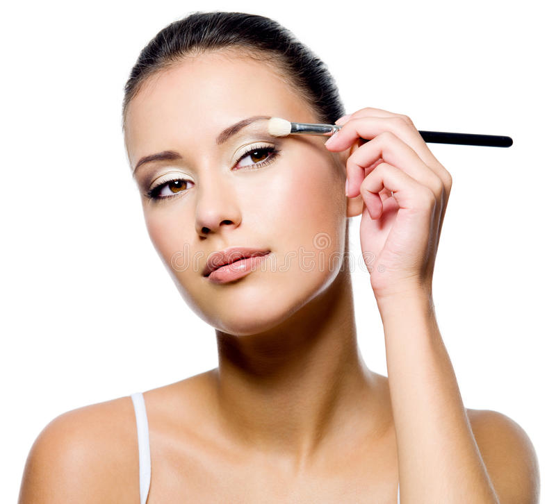 Download Woman Applying Eyeshadow With Brush Stock Photo - Image of eyes, apply: 21791636