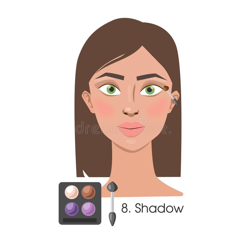 Woman applying eyeshadow. Woman applying eyeshadow on eyes with brush vector illustration