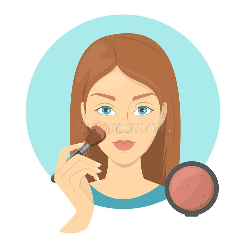 Woman applying face blush for perfect makeup. Beautiful girl care about skin and use bursh for cosmetic. Isolated vector illustration in cartoon style stock illustration